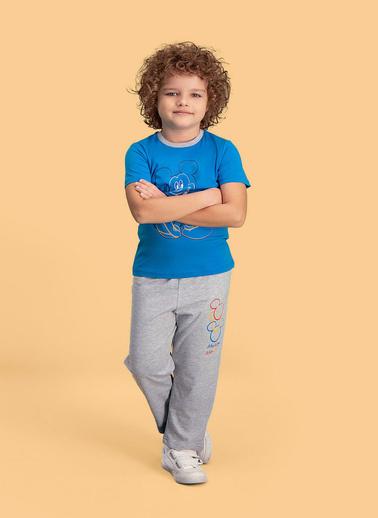 Mickey Mouse Mickey & Minnie Mouse Lisanslı Erkek Çocuk Pijama Takımı Mavi